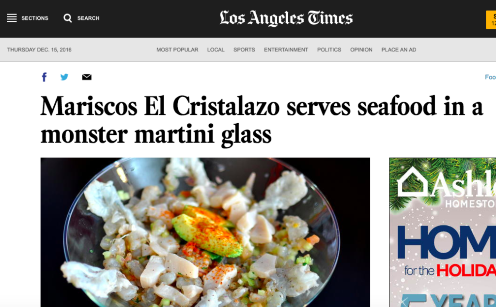 Mariscos El Cristalazo serves seafood in a monster martini glass