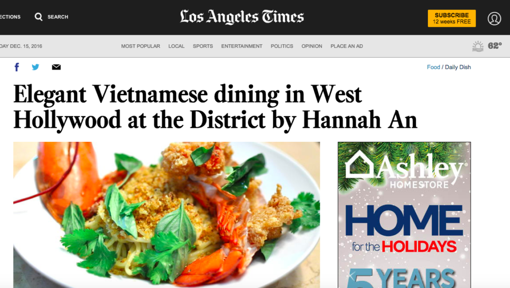 Elegant Vietnamese dining in West Hollywood at the District by Hannah An
